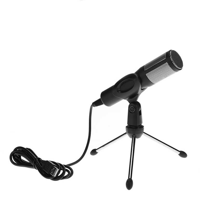 condenser Microphone USB Plug and Play Drive-Free Desktop Condenser Microphone with Tripod and Microphone Bracket
