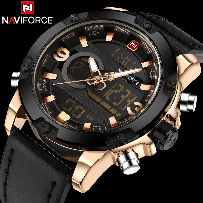 NAVIFORCE Brand Dual Dispaly Watch Men 30M Waterproof Sports Watches Luminous Analog LED Digital Wristwatches Leather Band Clock