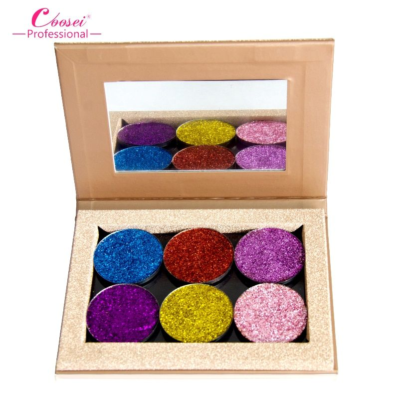 Coosei 6 Colors Eye Shadow Glitter Makeup Palette Shadows Eye Glitter Naked Eyeshadow Women Cosmetic Magnetic Eyeshadow Palette