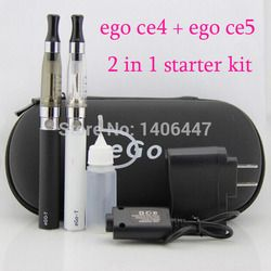 Ego ce4 and ce5 double kit electronic cigarette 2 in 1 ego ce4 ce5 ego starter kit in one zipper case EGO E Cigarette