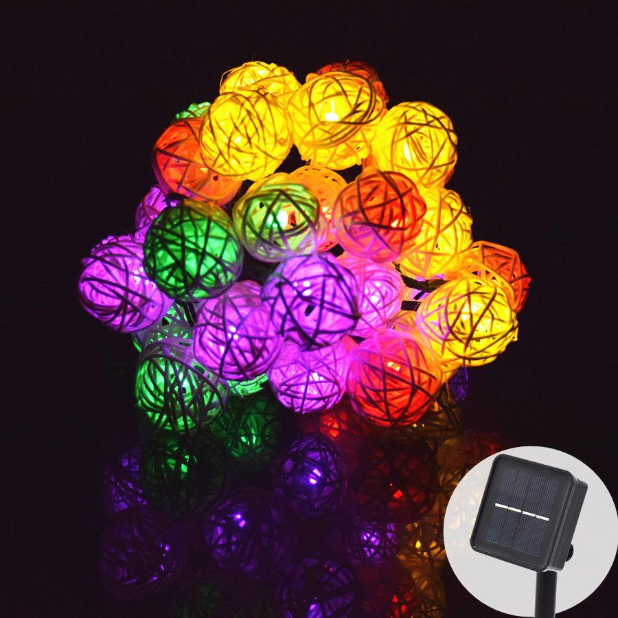 LED guirlande solaire de jardin lumières avec batterie rotin 30 lumière LED ampoules guirlande de vacances décoration de noël pour éclairage extérieur