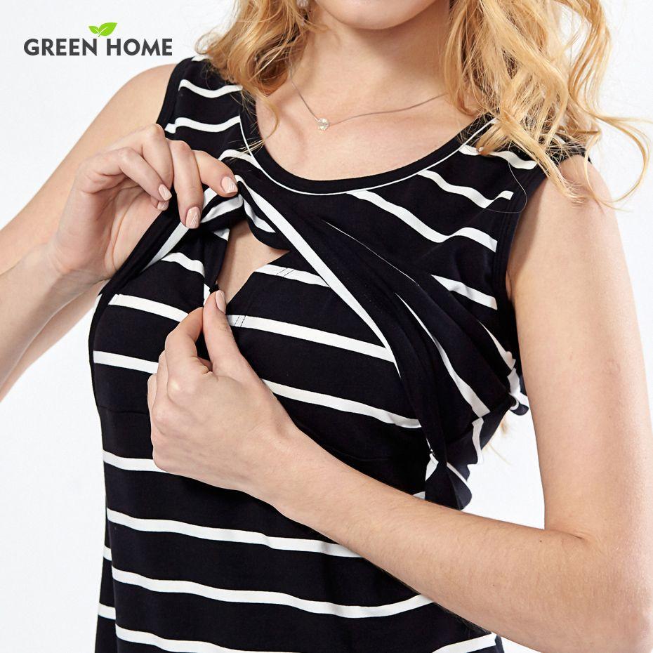 Green Home Cotton Striped Nursing Dress for Pregnancy Woman Short Maternity Dress Clothing Breastfeeding Nursing Dress Summer