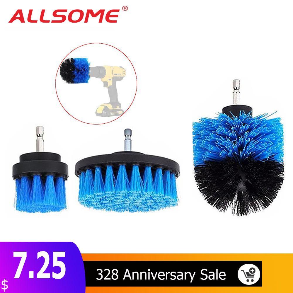 ALLSOME 3 Pcs 2/3. 5/4 Pouces Bleu Forage Brosse Tuile Coulis Puissance Laveur Baignoire Brosse De Nettoyage pour Perceuse Électrique HT1848