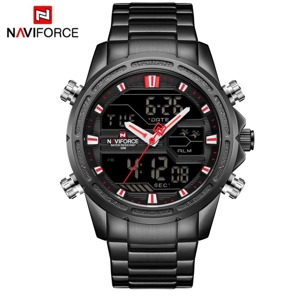NAVIFORCE Mens Quartz Analog Watch Luxury Fashion Sport Wristwatch Waterproof Stainless Male Watch Clock Relogio Masculino Black