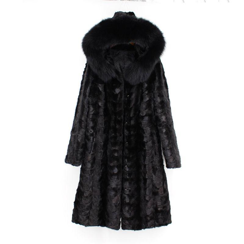 2018 neue mode frauen 100% echte natürliche nerz pelzmantel mit hoody lange fuchs pelz kragen langarm schwarz winter russland outwear