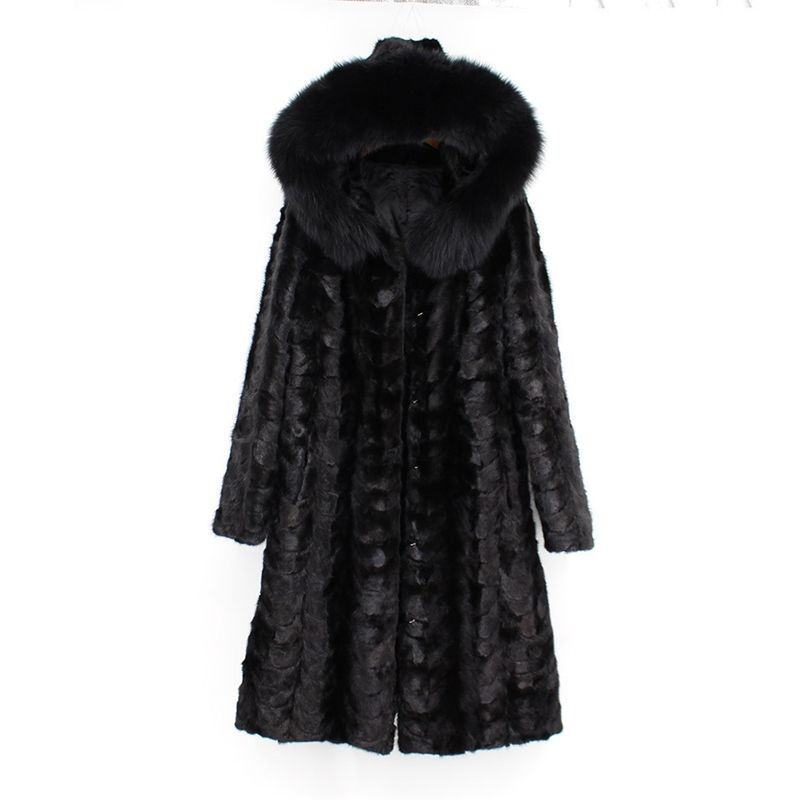 2018 new fashion women 100% genuine natural mink fur coat with hoody long fox fur collar long sleeve black winter Russia outwear