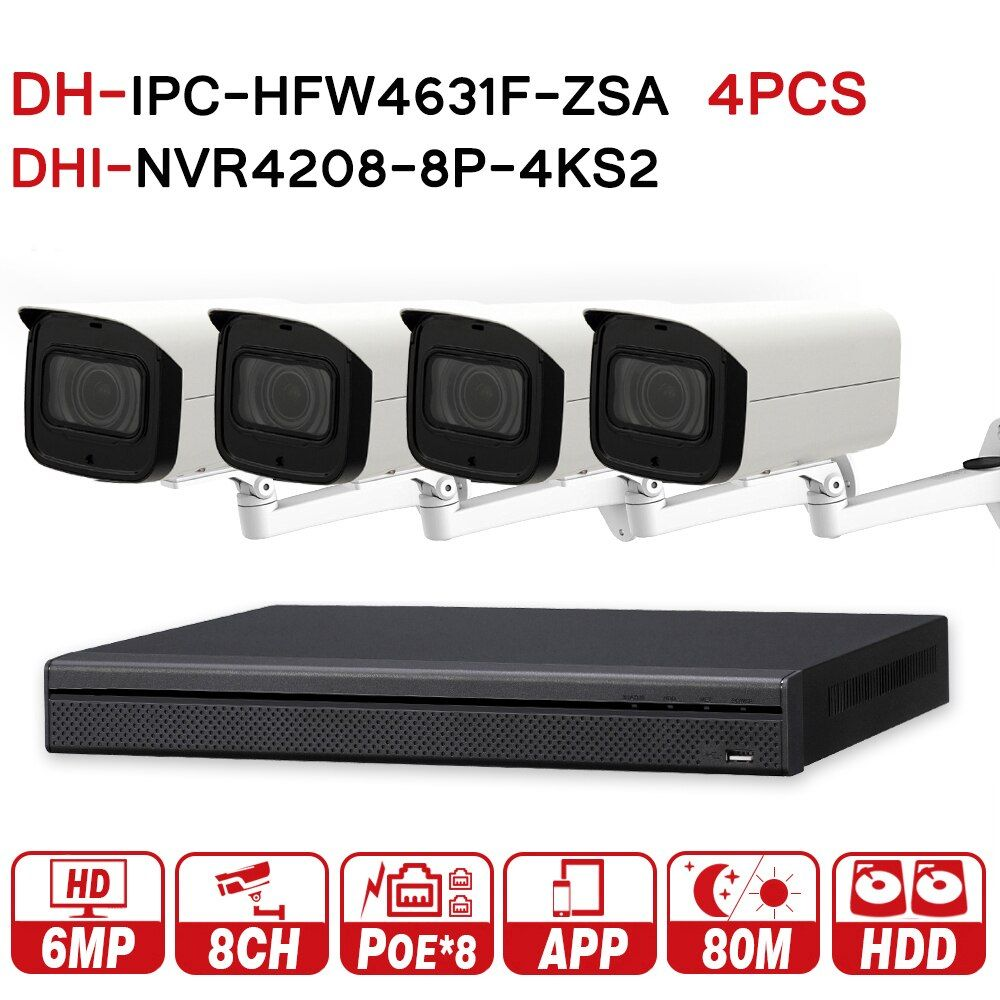 DH 6MP 8 + 4 Sicherheit CCTV-System 4 Pcs 6MP POE Zoom IP Kamera IPC-HFW4631F-ZSA & 8POE 4 K NVR NVR4208-8P-4KS2 Überwachung Sicherheit