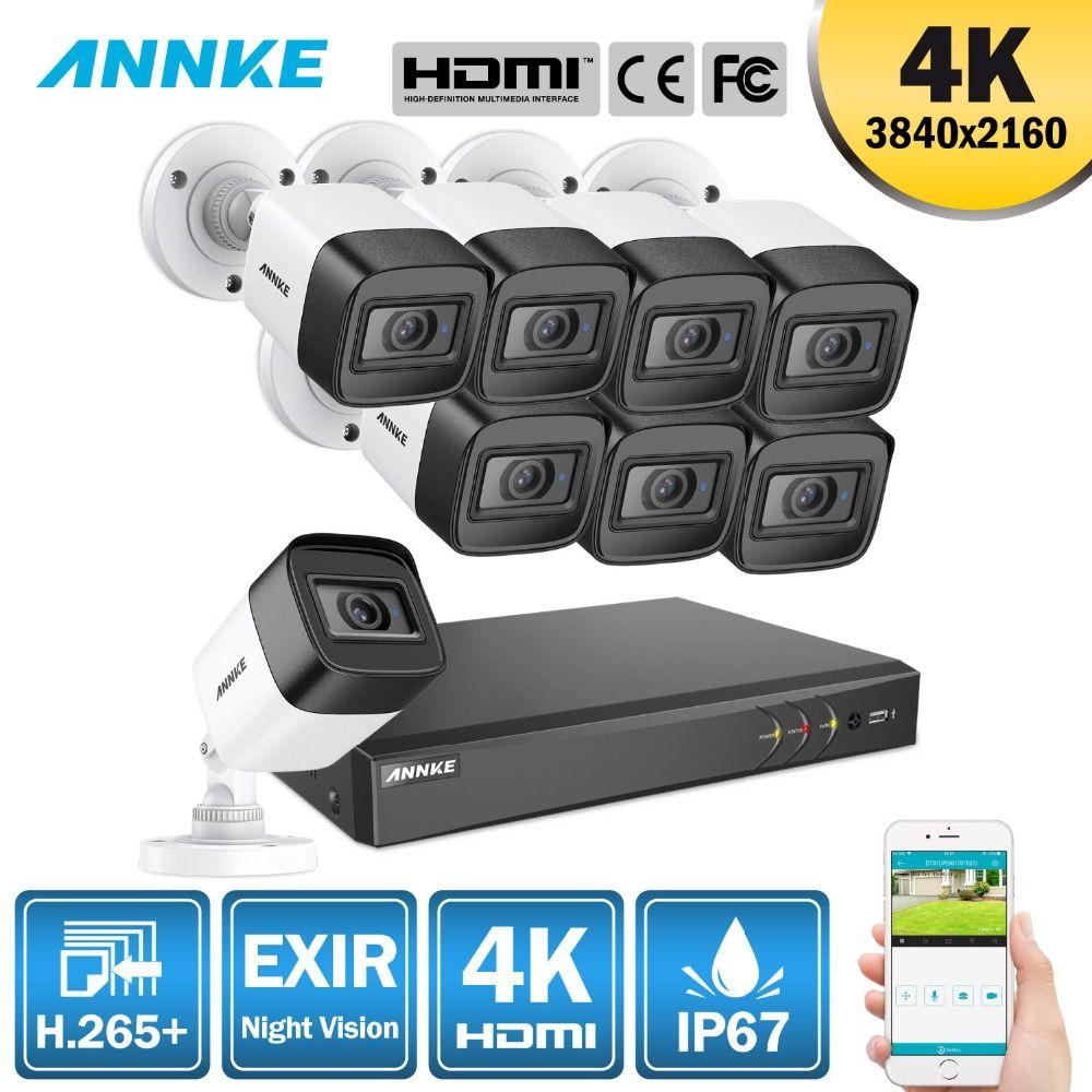 ANNKE 4 K Ultra HD 8CH DVR H.265 + CCTV Kamera Sicherheit System 8 PCS 8MP CCTV System IR Outdoor nacht Vision Video Überwachung Kit