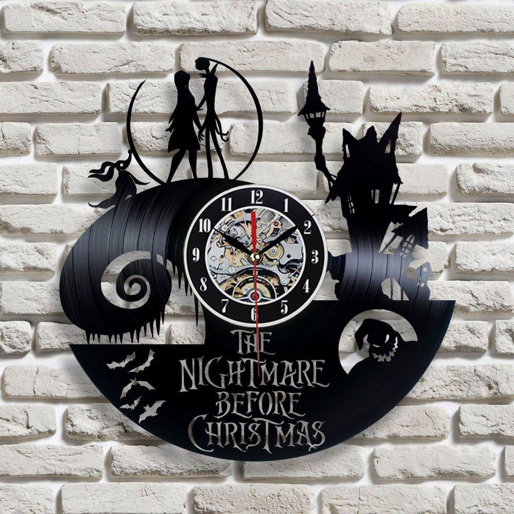 2018 New Vinyl Record Wall Clock Jack and Sally Classic Clocks Quartz Mechanism Horloge Reloj