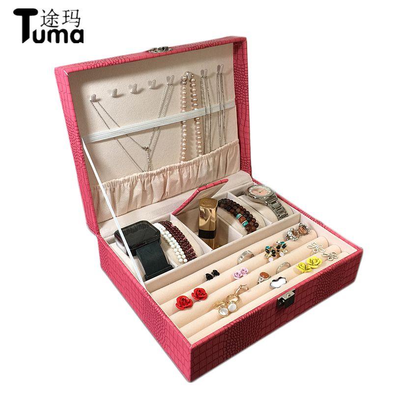 Eidechse muster pu leder schmuck box Prinzessin schmuck lagerung box Hohe qualität 4 farbe schmuck schatulle Geschenk box für frau