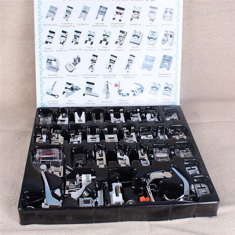 32 unids Mini Máquina de Coser Doméstica Braiding Ciegos Puntada Zurcir Pies Pie Prensatela Kit Set Para Brother Janome Cantante (frente)