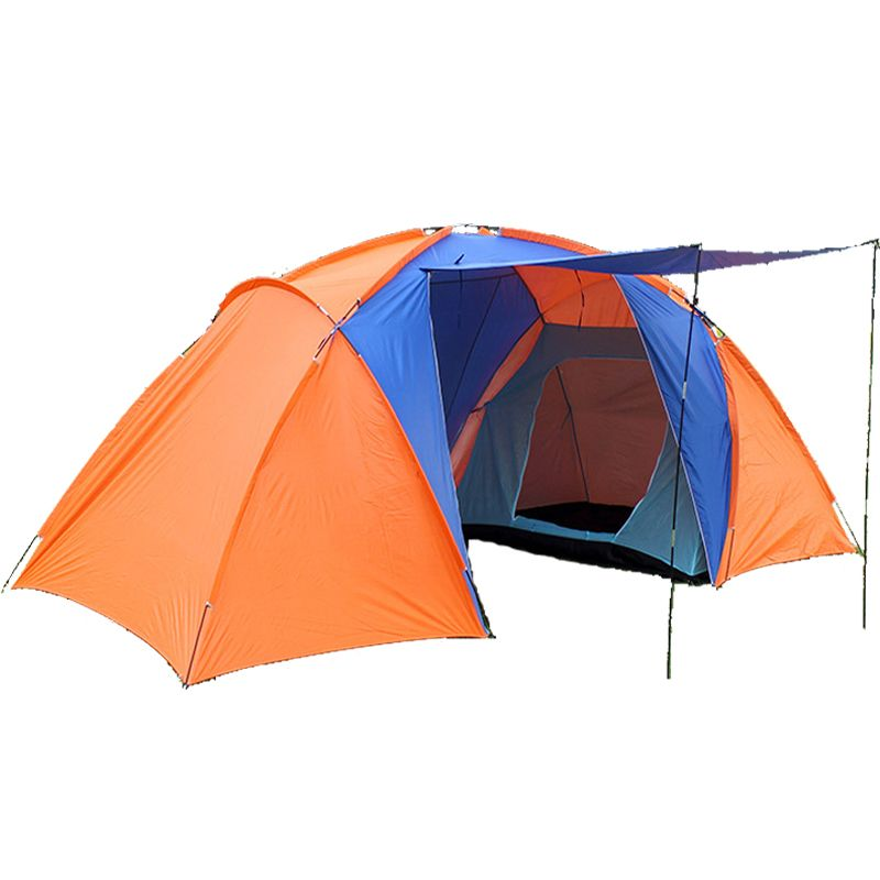 Big tourist tent 4 people double layer two bedroom camp 4 person large camping tent family waterproof tents