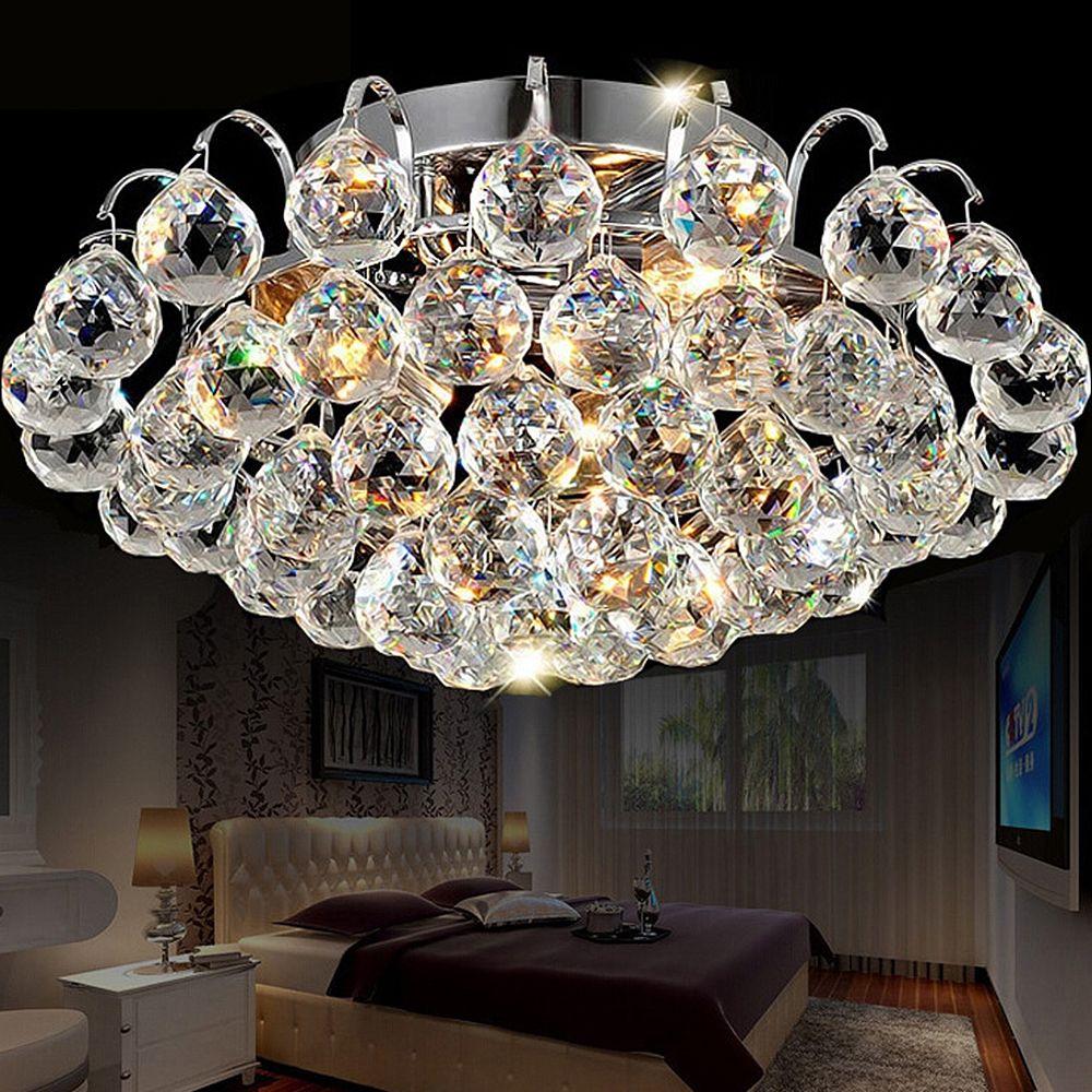 30CM Diameter Luxury crystal living room lamp fashion Crystal ceiling light K9 crystal lamp bedroom lamp Modern Ceiling Light
