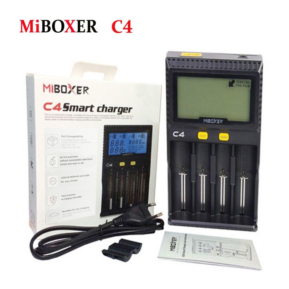 Original Miboxer C4 VC4 LCD Inteligente Cargador de Batería de Li-ion/IMR/INR/ICR/LiFePO4 18650 14500 26650 Pilas AAA 3.7 1.2 V 1.5 V
