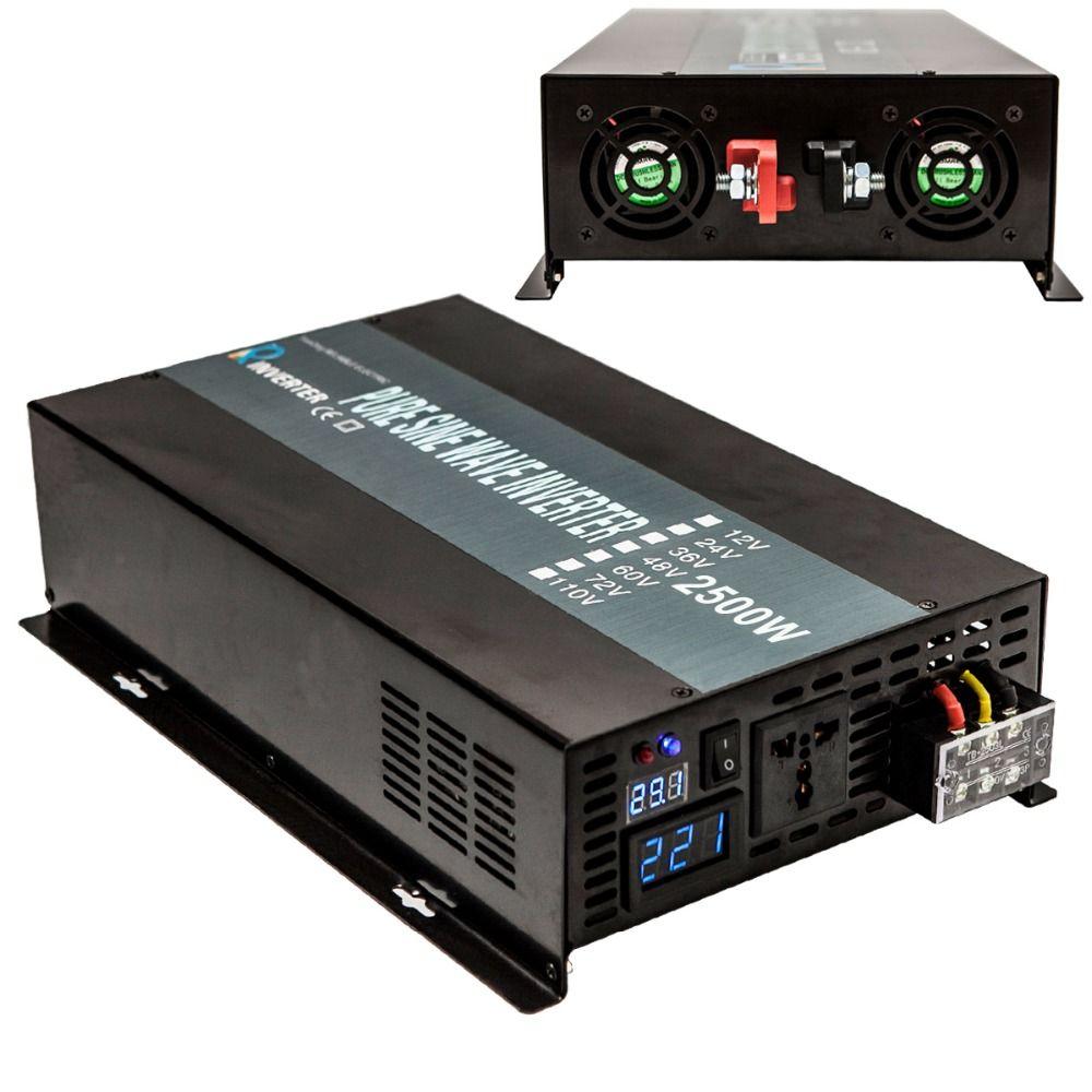 Pure Sine Wave Power Inverter 24V 220V 2500W Solar Panel Inverter Generator Auto Converter 12V 24V 48V DC to 120V 230V 240V AC