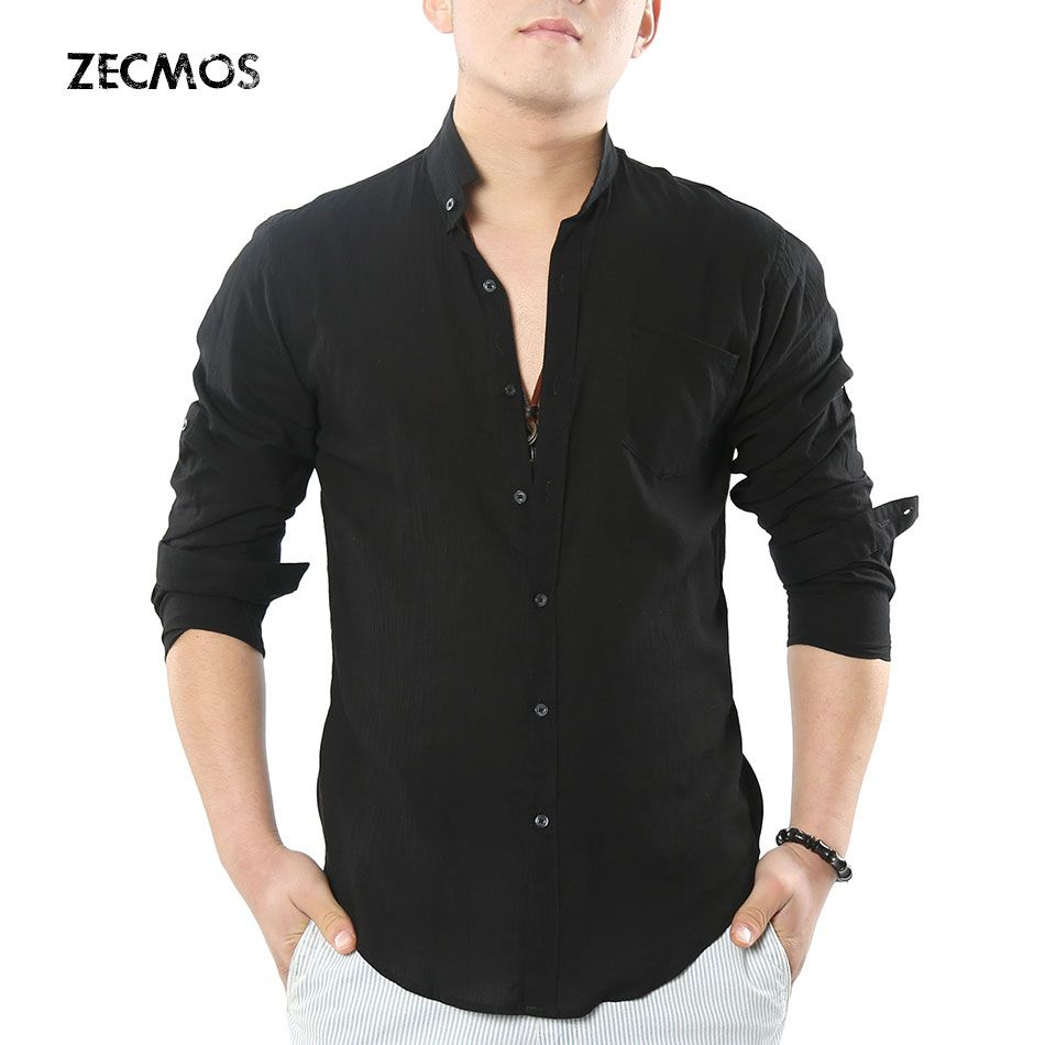 Zecmos Social Grandad chinois Mandarin col chemise hommes décontracté haute qualité coton lin chemise