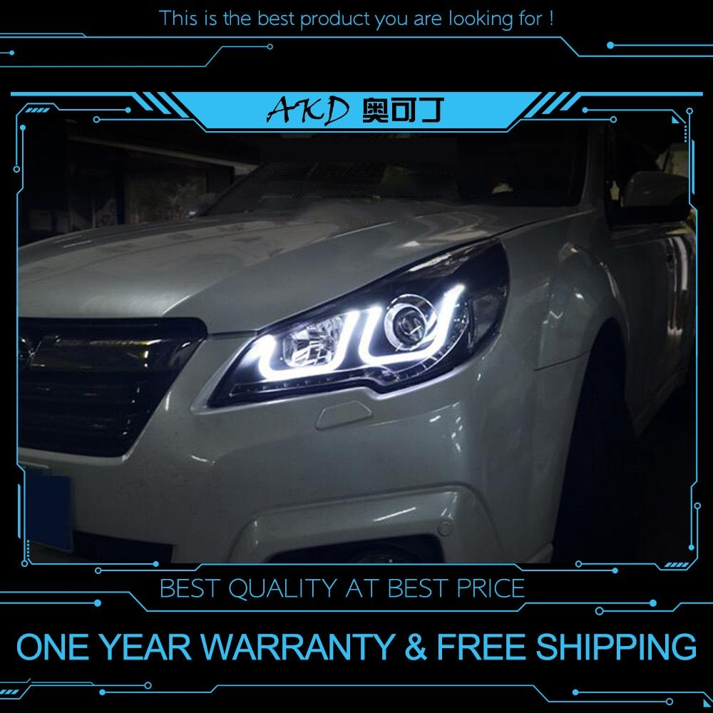 AKD tuning cars Headlight For Sabaru Outback Legacy Headlights LED DRL Running lights Bi-Xenon Beam Fog lights angel eyes Auto