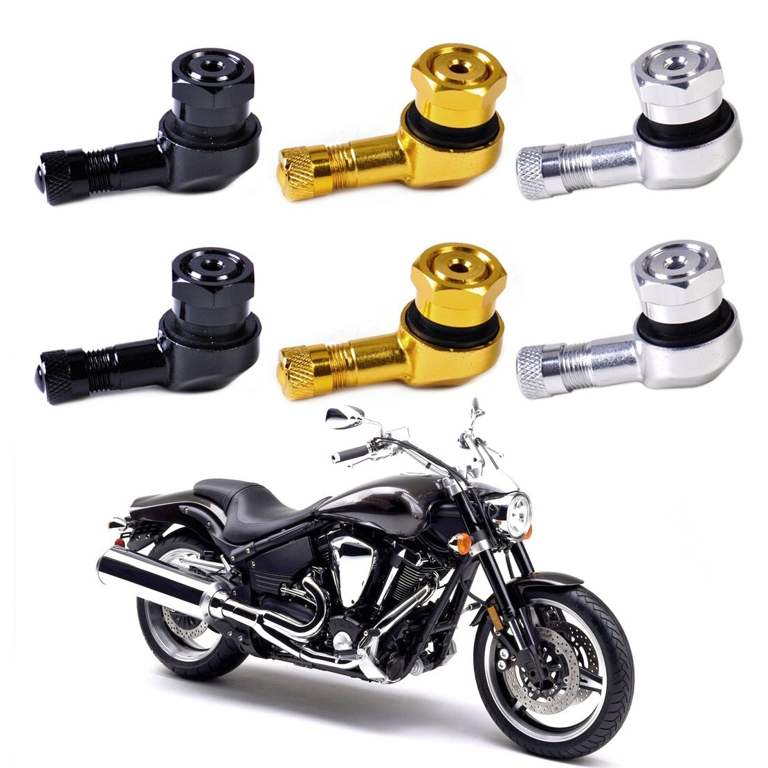 DWCX 2pcs Motorcycle 11.3mm Aluminum Wheels Tyre Tire Valve Stem Cap 90 Degree for Harley Chopper Honda Yamaha Suzuki Truck