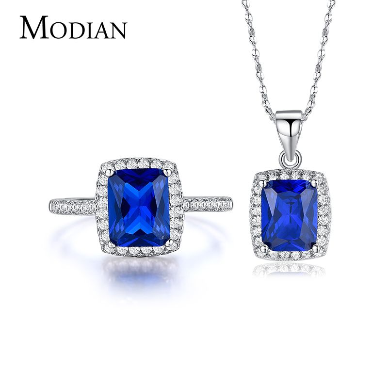 R&J 5 Color New fashion Blue 5A Zircon 925 Sterling Silver Jewelry Set Necklace/Pendant/ Ring for women wedding engagement sets