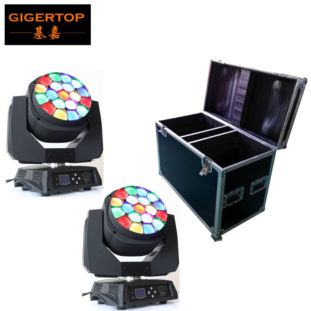 Flight Case 2in1 Packing with 2pcs/lot Big Bee Eye led moving head zoom function 4-60 degree RGBW 4IN1 19*15W Beam effect light