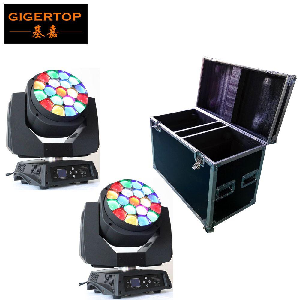 Flightcase 2in1 Verpackung mit 2 teile/los Große Biene Auge führte beweglichen kopf zoom funktion 4-60 grad RGBW 4IN1 19*15 Watt strahleneffekt licht