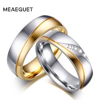 Personalizado Anéis de Casamento Romântico Para O Amante Casal Anéis De Aço Inoxidável Para a Festa de Noivado de Ouro-Cor Wedding Bands Jóias