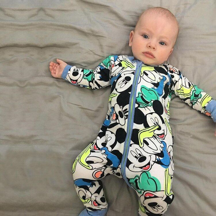 New Retail 2017 new Newborn infants baby boy and girl wear mickey even climb clothes conjoined ha garments