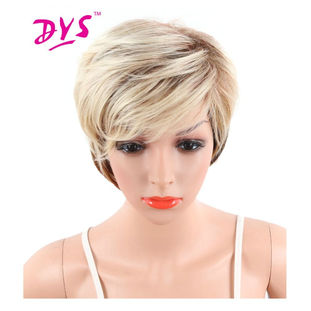 Deyngs Ombre Short Big Wavy Synthetic Wig For Black Women Blonde To Black Color Natural Hair With Bangs Pixie Cut Noce Lace Wig