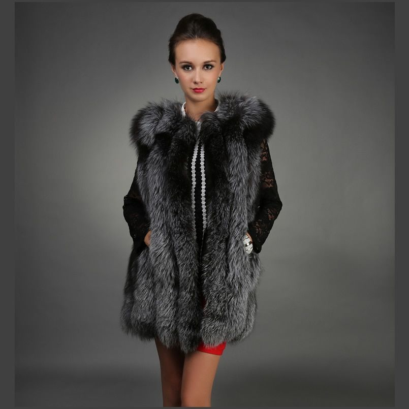 LIYAFUR 80CM Women's 100% Real Genuine Full Pelt Silver Fox Fur Long Vest Waistcoat Gilet for women Vertical Strip