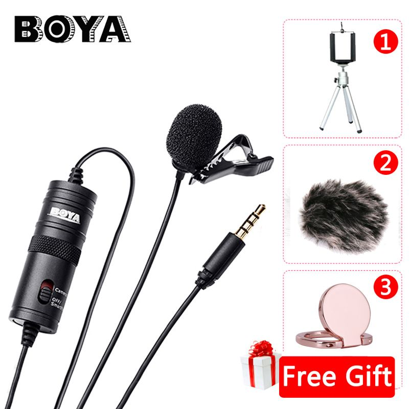 BOYA BY-M1 Label Lavalier Microphone 6M Boya 3.5mm Condenser Mic for Smartphones Dslr/Recorder/Camcorders/Free Windshield