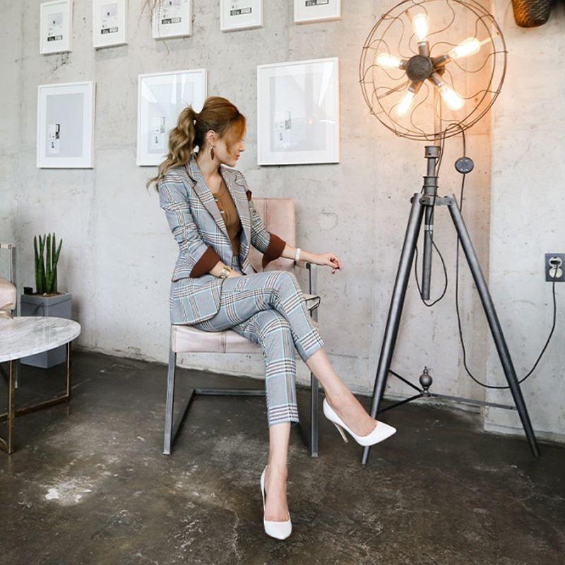 2 piece set women Suit female 2018 spring and autumn new temperament Slim fashion Plaid stripes office ladies OL suit