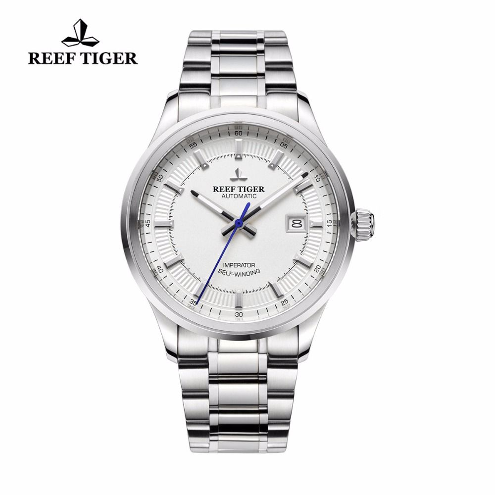 Reef Tiger/RT Business Men Top Grade Luxury Dress Watch Automatic Movement Mens 316L Solid Steel Super Luminous RGA8015