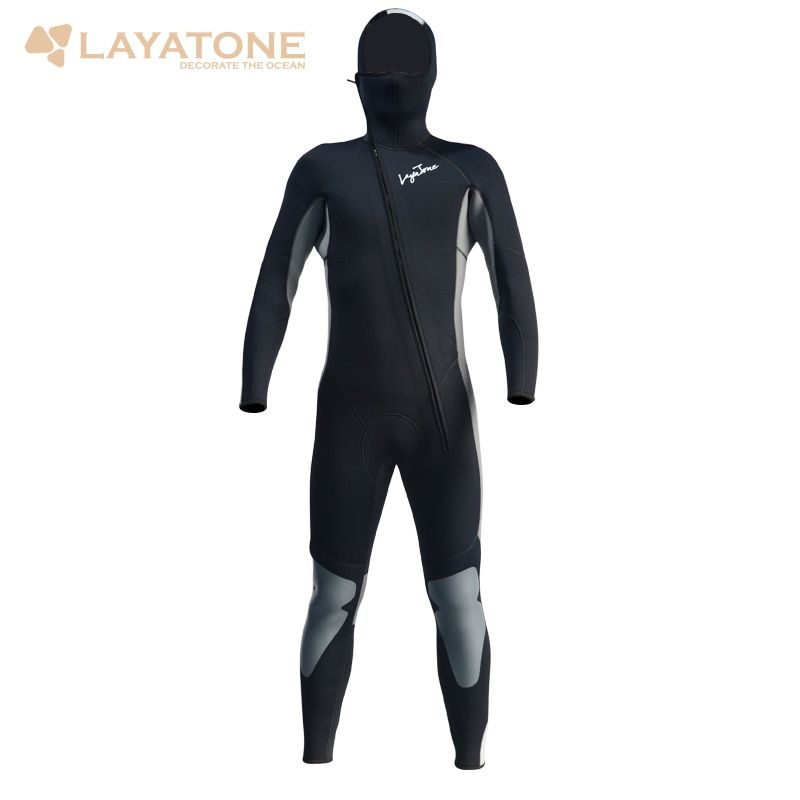 Wetsuit Men 5mm Neoprene Scuba Diving Wetsuits Surfing Surf One-Piece Full Body Long Wet suit With Hood Front Zipper A1614