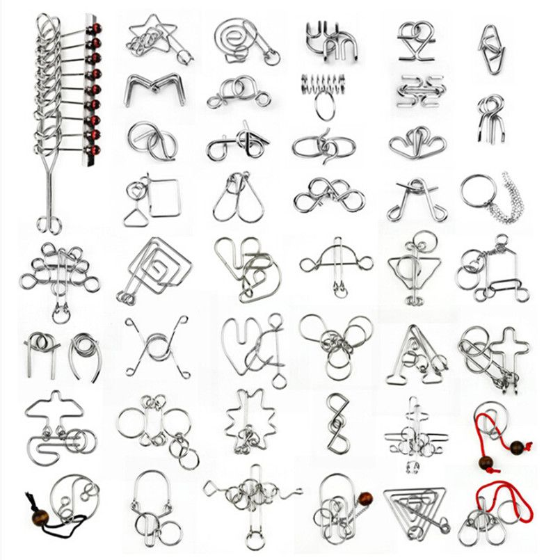 45 PCS/Set Chinese Ring IQ Metal Wire Puzzle for Children/Adults,Creative Brain Teaser Puzzles Game Educational Toys Gifts