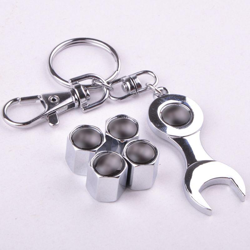 (4caps + 1spanner keyring)/set automotive tire accessories car wheel tyre valve stems caps for bmw benz amg vw modifications