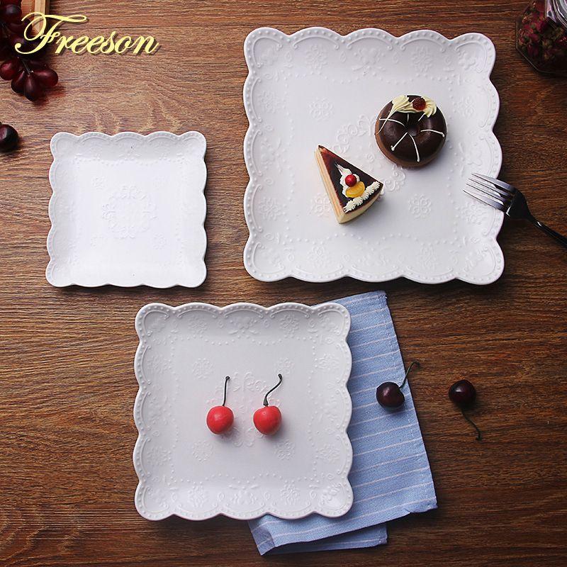 Slip blanc gaufré assiettes en céramique dîner assiette pâtisserie fruits plats gâteau porcelaine plat Steak plateau vaisselle vaisselle