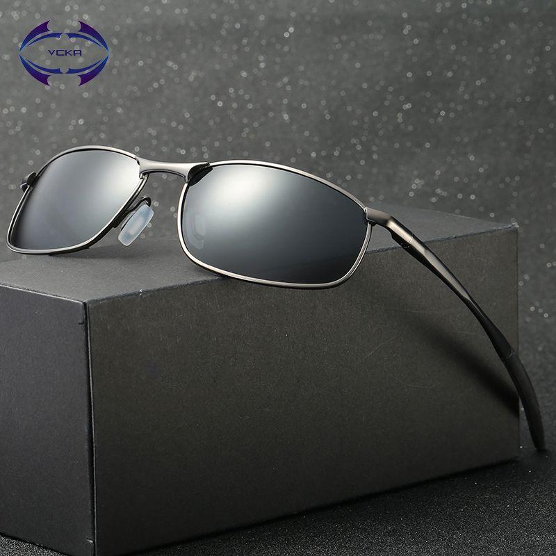 VCKA Polarized Sunglasses Men Brand Designer Rectangle Rectangle Sunglass Mens Driving Sun Glasses oculos de sol UV400 Eyewear