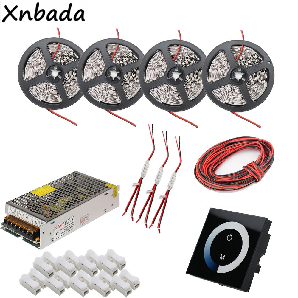 White/Warm White/Blue/Red Colors SMD5050 Led Strip Light,Touch Panel Led Controller Power Supply Adapter Kit 5M 10M 15M 20M