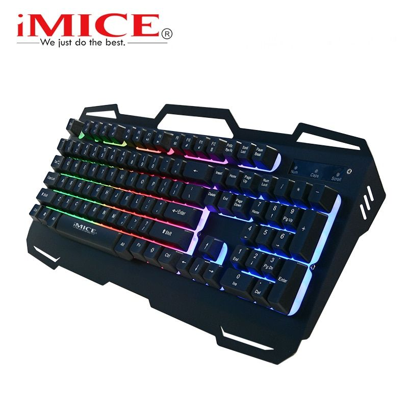 iMice Gaming Keyboard Wired USB Gamer Keyboards 104 Keys Metal Panel Floating Backlit Keyboard With Russian English For PC