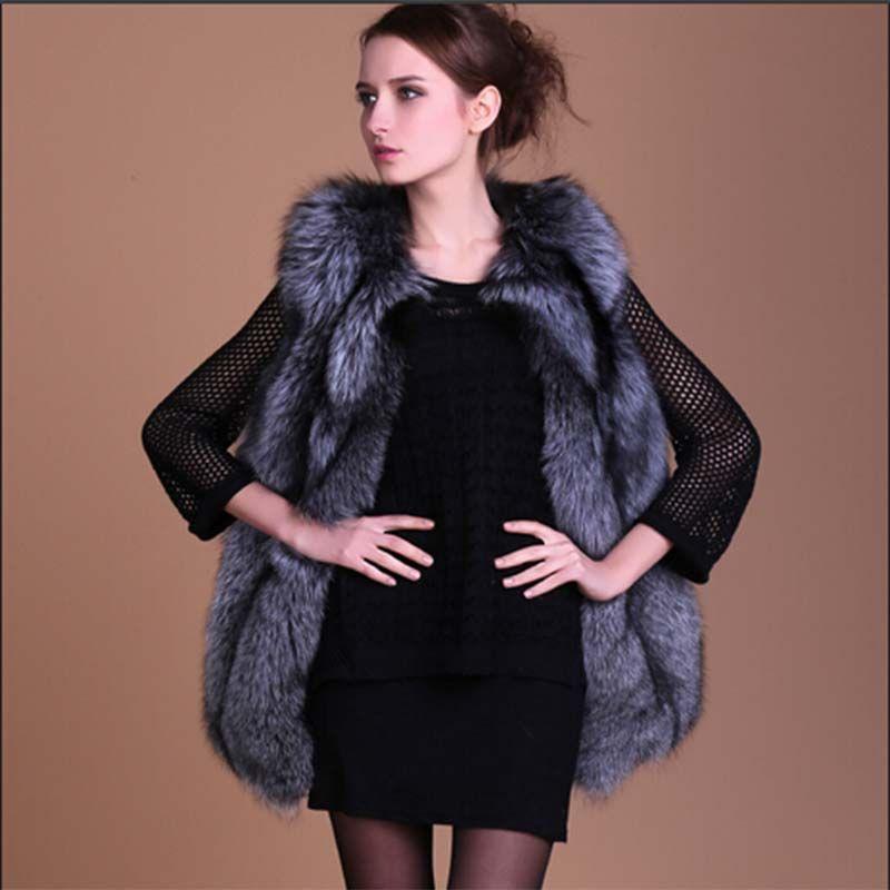 100% Natural Silver Fox Fur Vests for Woman Genuine Fur Natural Gilets Jackets Overcoat Winter Warm Real Fur Vest V12