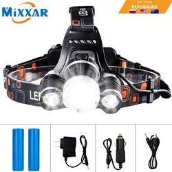 EZK20 Dropshipping 13000LM Headlamp Flashlight Rechargeable 3 T6 R5 LED Hard Hat Headlight Battery Car Wall Charger for Camping