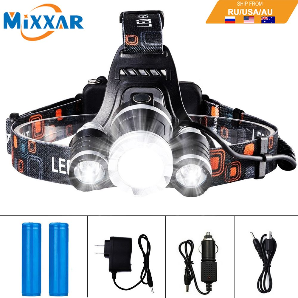 EZK20 LED <font><b>Headlamp</b></font> 13000LM T6 R5 Fishing Headlight Flashlight with Rechargeable Batteries Car Charger Wall Charger and USB Cable