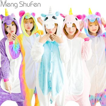 Хэллоуин осень-зима наборы пижамы мультфильм пижамы Для женщин пижамы Рождественские фланель животного панда стежка единорог пижамы