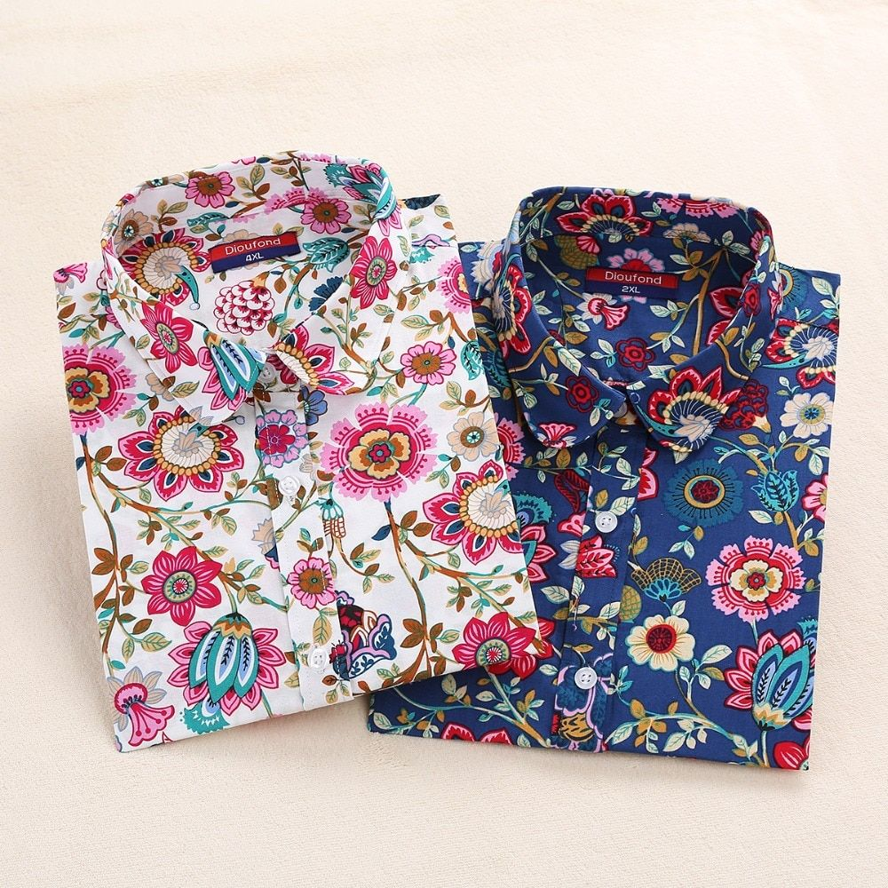 Nouveau Coton Femmes Vintage Chemises Tournent Vers Le Bas Chemise Blusas Femininas 5XL Plus La Taille À Manches Longues Blouses Floral Femmes Tops 2016