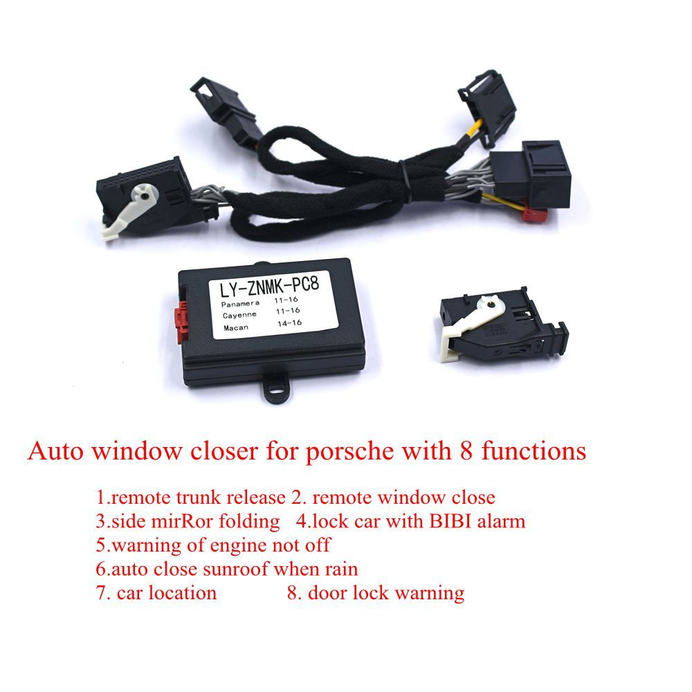 PLUSOBD Automatic Car Window Close/Down(+Sunroof)+Side Mirror Folding+Remote Trunk Release+Car Alarm+Car Location For Porsche