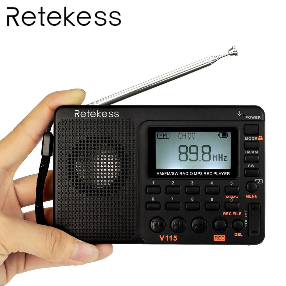 Retekess V115 Portable Radio FM/AM/SW World Band Receiver MP3 Player REC <font><b>Recorder</b></font> With Sleep Timer Black FM Radio <font><b>Recorder</b></font>
