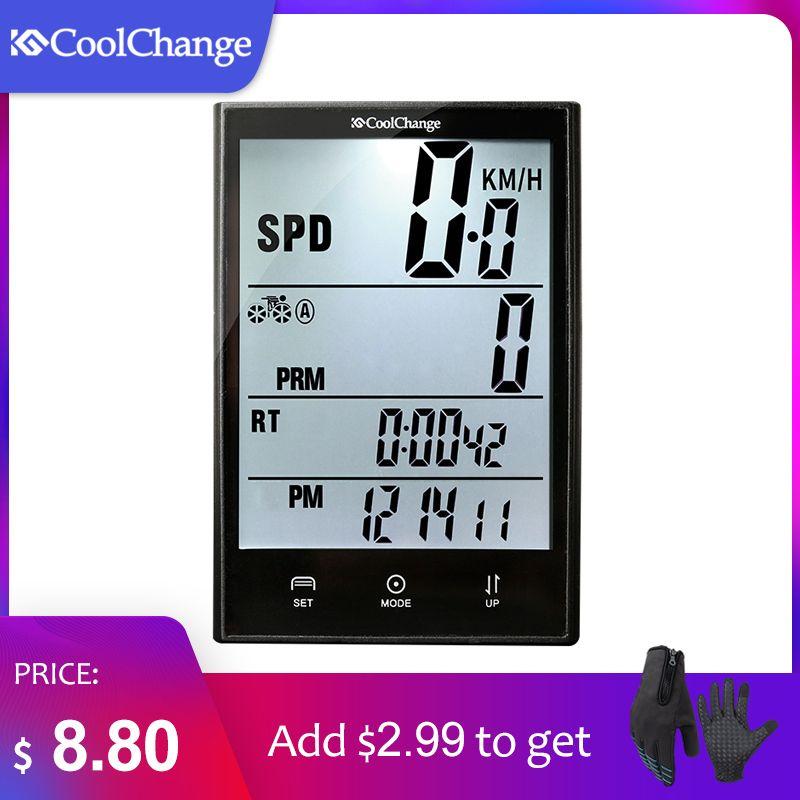 CoolChange Wireless Bike Computer Speedometer Odometer Rainproof Cycling Bicycle Computer Bike Measurable Temperature <font><b>Stopwatch</b></font>