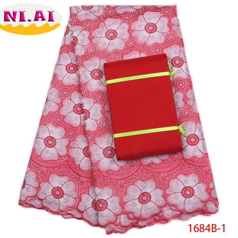 Nigerian Lace Fabric 2018 High Quality Headtie Lace Swiss Voile Lace In Switzerland Cotton Lace Trim For Nigerian PartyNA1684B-1