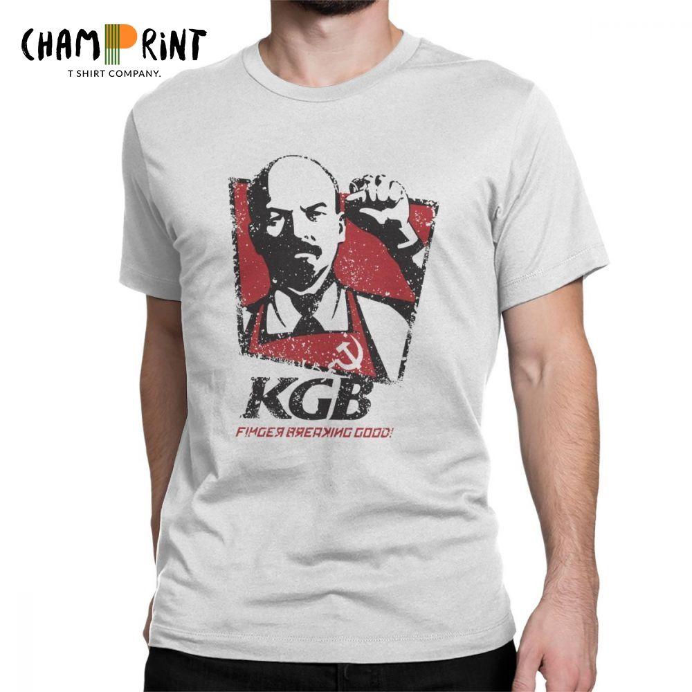KGB Vladimir Lenin Männer T Shirts UDSSR Russland Kommunismus Marxismus Nationalsozialismus Vintage Tees Crewneck T-Shirts 100% Baumwolle Geschenk Kleidung
