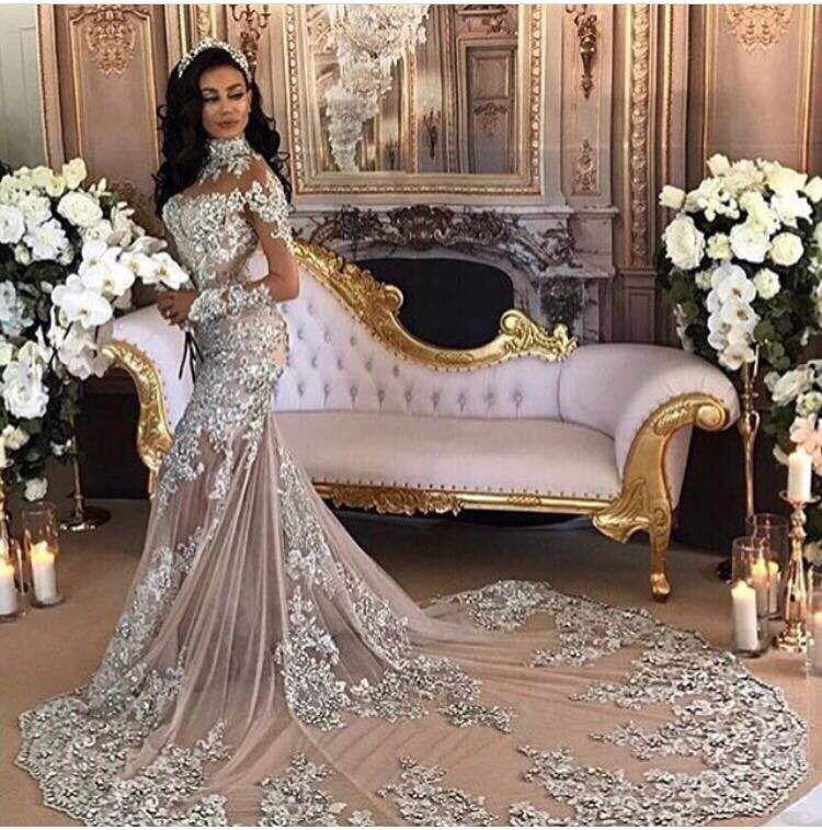 Elegante Muslimischen Abendkleid Meerjungfrau Mit Langen Ärmeln Spitze High Neck Perlen Kristall Formale Prom Kleid Party Kleid Robe De Soiree 2019